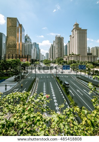 GUANGZHOU, CHINA - SEP 16: Urban Transport in Guangzhou on Sep 16, 2016. Guangzhou is one of the major economic cities in China