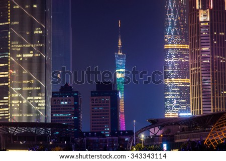GUANGZHOU, CHINA - Sept. 28: Night view of modern buildings. Close up view of the modern buildings in Guangzhou. The tower in the central is Guangzhou Tower, which is the new landmark of the city.