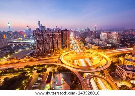 guangzhou huangpu interchange road in nightfall , panoramic view - stock photo