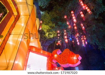 Guangzhou tour in old at night - stock photo