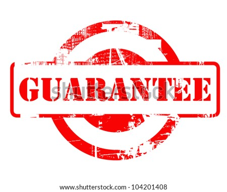 Guarantee red stamp with copy space isolated on white background.
