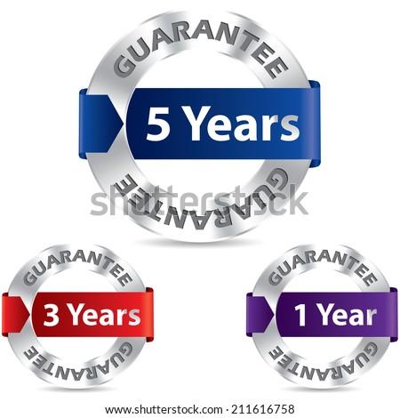 Guarantee seal designs with metal and ribbon - stock photo