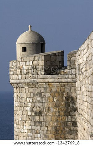 Guard place on the city walls above the sea - stock photo