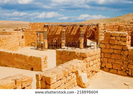 Guard room at the market of old ruined city of Mamshit (Memphis) in Negev desert, Israel - stock photo