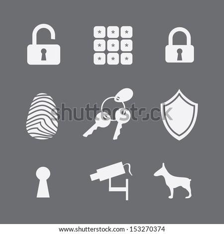 guard security icons, safe life. key pad. password - stock photo