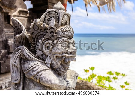 Guard statue at sea temple Pura Tanah Lot, Bali Island, Indonesia