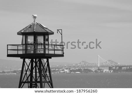 Guard tower on Alcatraz in San Francisco - stock photo