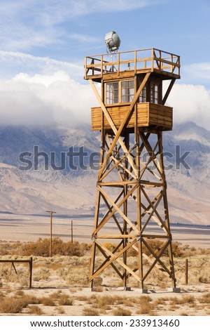 Guard Tower Searchlight Manzanar National Historic Site California - stock photo
