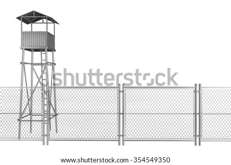 Guard Tower with Wired Fence on a white background - stock photo