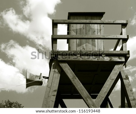 Guard towers in concentration camp - stock photo