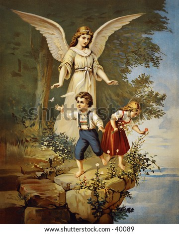 Guardian angel protecting children near a cliff - an early 1900s vintage illustration
