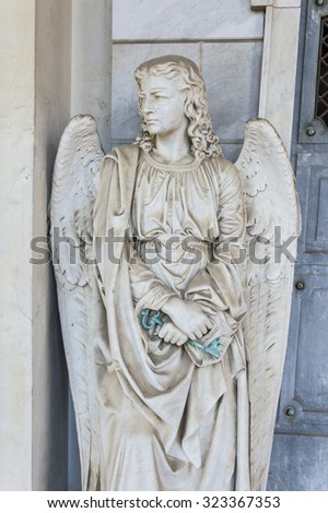 Guardian angel watches and notes in front of him