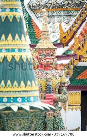 Guardian in the Grand Palace, Bangkok, Thailand  - stock photo