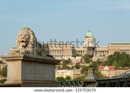Guardian lion with Royal Castle view, Budapest - stock photo