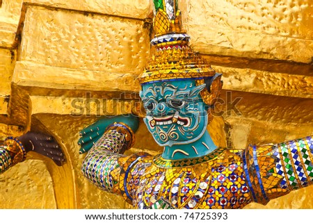 Guardian of Wat Phra Kaeo Temple, bangkok, Thailand.