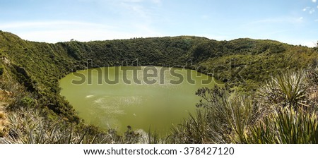 Guatavita volcanic lagoon, Cundinamarca, Colombia. It was the sacred lake and center of the rites of the Indians Muiscas (Chibcha). - stock photo