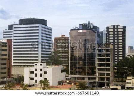 GUATEMALA CITY - May 26, 2017. View Reforma Avenue in guatemala city, modern architecture, buildings apartments, offices and gardens. EDITORIAL.