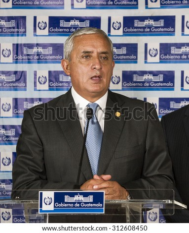GUATEMALA CITY - SEPTEMBER 1: President of Guatemala, Otto Perez, gives a press conference to fend off accusations of corruption. He was stripped of immunity on september 1, 2015 in Guatemala city.