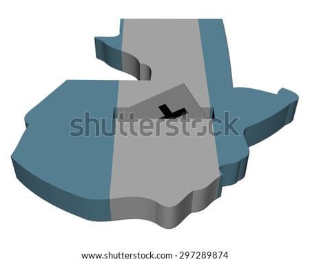 Guatemala election map with ballot paper illustration - stock photo