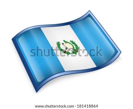 Guatemala Flag icon, isolated on white background. - stock photo
