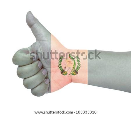 Guatemala flag on thumb up gesture like icon on white background - stock photo