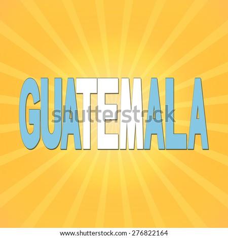 Guatemala flag text with sunburst illustration - stock photo