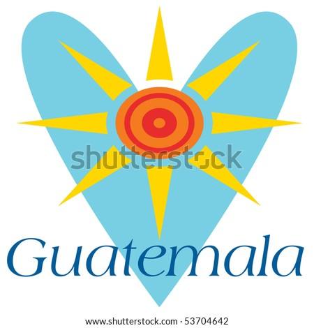 Guatemala Heart and Sun - stock photo