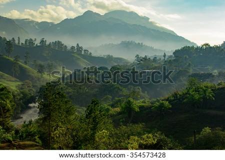 Guatemala Sunrise In The Jungle - stock photo