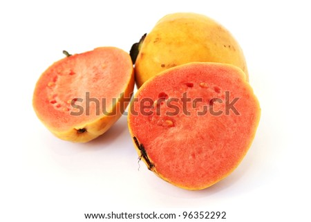 Guava fruit isolated on white background. - stock photo