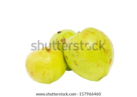 Guava fruit over white background - stock photo