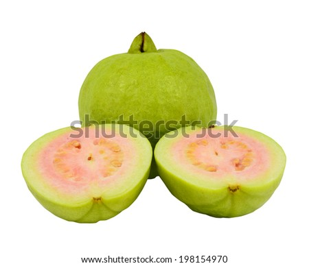 Guava with a half isolated on white - stock photo