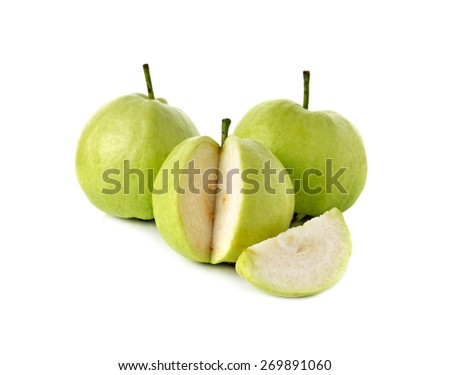 guava with stem on white background