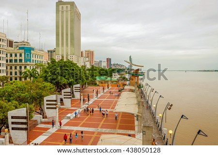 Guayaquil, Ecuador - April 15, 2016: View at people walking at Malecon 2000. It is the name given to boardwalk overlooking the Guayas River in the Ecuadorian port city of Guayaquil.