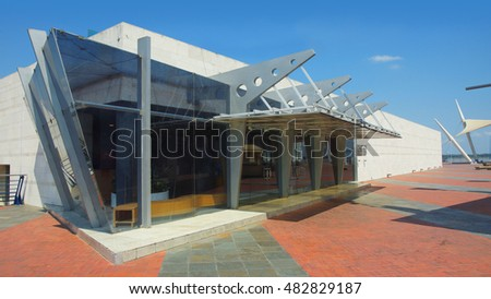 Guayaquil, Guayas / Ecuador - September 4 2016: View of the entrance to the Anthropological Museum and Contemporary Art at the Malecon 2000 in the city of Guayaquil