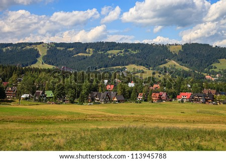 Gubalowka view near Zakopane, Poland. - stock photo