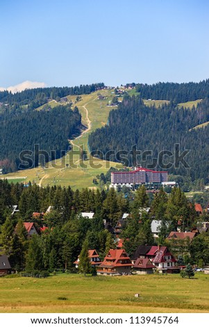 Gubalowka view of the ski lift in the background near Zakopane, Poland. - stock photo