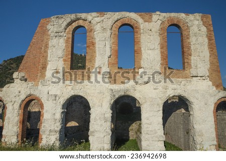 Gubbio Roman Theatre, built in the first century. Gubbio is the town in Umbria, Italy, 40 km near of Perugia. - stock photo