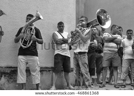 Guca, Serbia, Circa August, 2013. Traditional Serbian band practices before the competition on the stage. Guca Trumpet Fesitval takes place each year in small town in Serbia.
