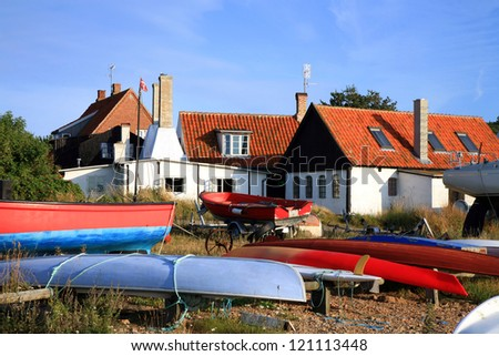 Gudhjem picturesque town, typical view on Bornholm Island, boats on shore. Denmark, Europe - stock photo