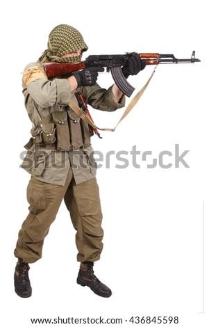 guerilla with AK 47 isolated on white - stock photo
