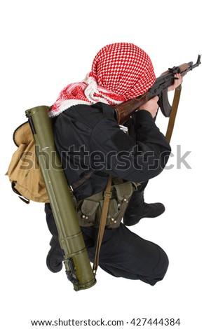 guerilla with AK 47 rifle isolated on white - stock photo