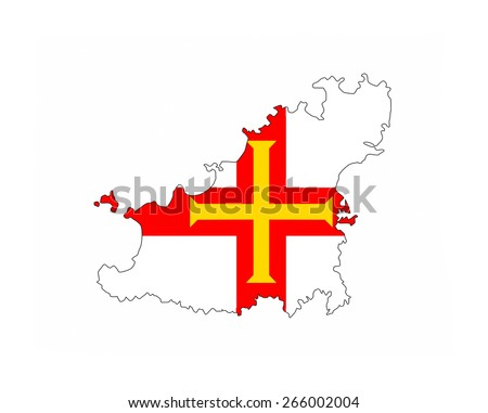 guernsey country flag map shape national symbol - stock photo