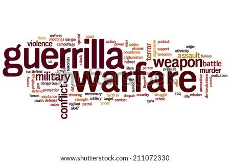 Guerrilla warfareconcept word cloud background - stock photo