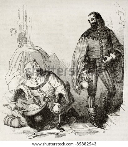 Guest and cook old illustration, characters of Canterbury Tales. By unidentified author, published on Magasin Pittoresque, Paris, 1842 - stock photo