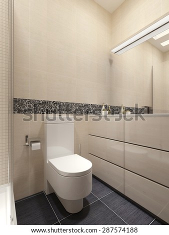 Guest bathroom in a modern style. 3d visualization