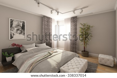 Guest Bedroom in Country House 3d Rendering - stock photo