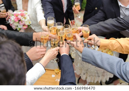 guest clanging glasses at wedding party - stock photo
