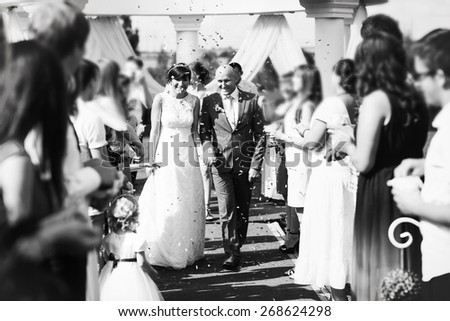 Guests Throwing Confetti Over Bride And Groom black and white - stock photo