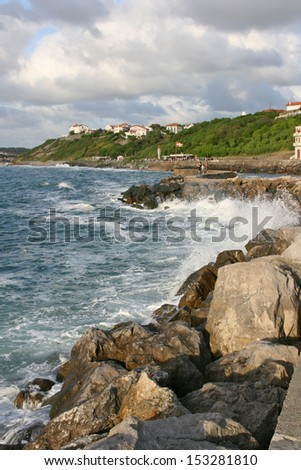 Guethary harbor, Pays Basque, France. Guethary is located between Bidart and Saint Jean de Luz. - stock photo