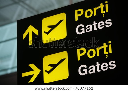 Guidance sign in an airport terminal - stock photo